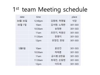 1 st  team Meeting schedule