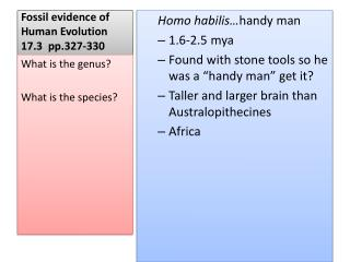 Fossil evidence of Human Evolution    17.3   pp.327-330