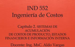 IND 552 Ingeniería de Costos