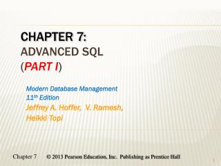 Chapter 7: advanced SQL ( Part  i )
