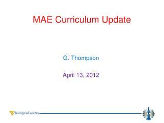 MAE Curriculum  Update