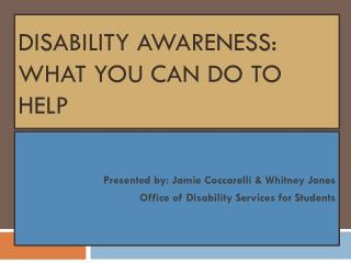 Disability Awareness: what you can do to help