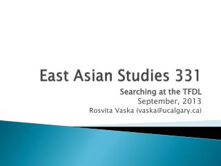 East Asian Studies 331