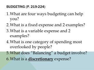 Budgeting (p. 219-224)