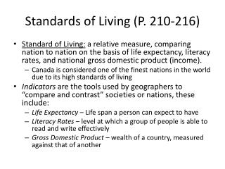 Standards of Living (P. 210-216)