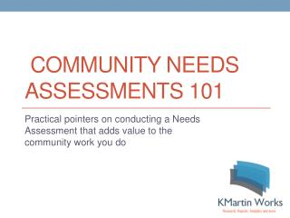 Community Needs Assessments 101
