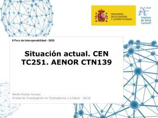 Situación actual. CEN TC251. AENOR CTN139