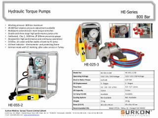 Hydraulic Torque Pumps