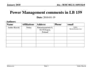 Power Management comments in LB 159