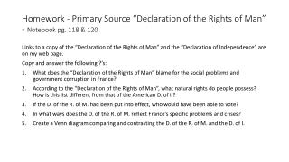 "Homework - Primary Source ""Declaration of the Rights of Man"" -  Notebook pg. 118 & 120"