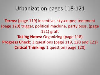 Urbanization pages 118-121