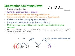 Subtraction Counting Down Draw the number line Write the larger number on the right