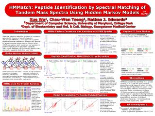Spectral matching identifies peptides by comparing spectra with libraries of identified spectra We present HMMatch, a ne