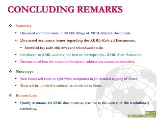 Summary Discussed common errors in US SEC filings of XBRL-Related Documents.
