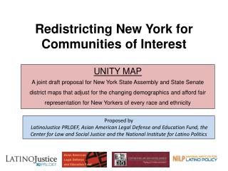 Redistricting  New York for  Communities  of Interest