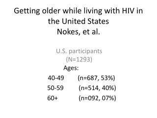 Getting older while living with HIV in the United States Nokes, et al.