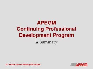 APEGM Continuing Professional Development Program