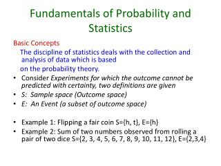 Fundamentals of Probability and Statistics