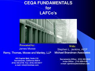 CEQA FUNDAMENTALS for LAFCo s