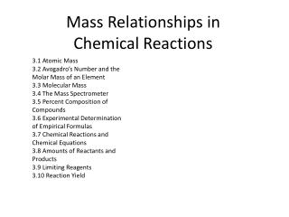 Mass Relationships in Chemical Reactions