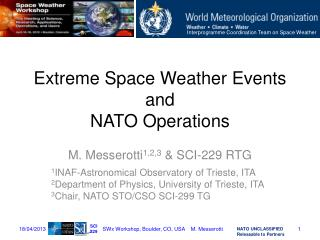 Extreme Space Weather Events and NATO Operations