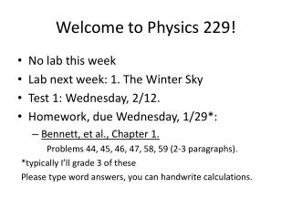 Welcome to Physics 229!