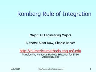 Romberg Rule of Integration