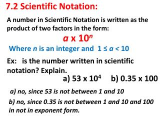 7.2 Scientific Notation: