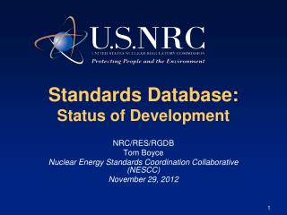 Standards Database:  Status of Development