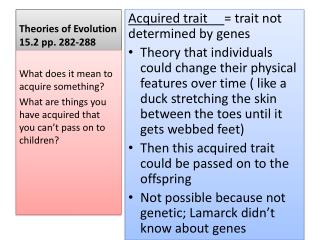 Theories of Evolution   15.2 pp. 282-288
