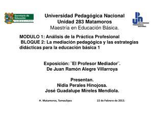 Universidad Pedagógica Nacional Unidad 283 Matamoros Maestría en Educación Básica.