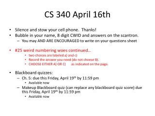 CS 340 April 16th