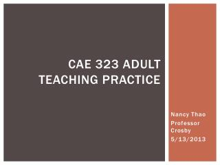 CAE 323 Adult Teaching Practice