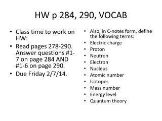 HW p 284, 290, VOCAB