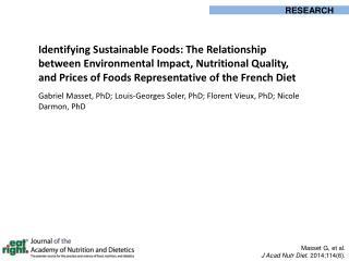 Masset G, et al. J Acad Nutr Diet . 2014;114(6).
