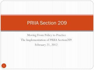 PRIIA Section 209