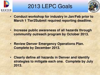 2013 LEPC Goals