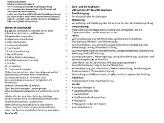 Büro- und EH-Kaufleute: VBK auf die LAP Büro/EH-Kaufleute Ausbildungstyp: