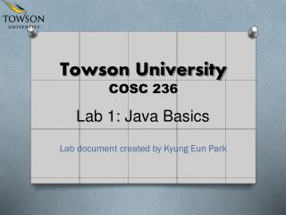 Towson University COSC 236