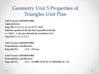 Geometry Unit 5 Properties of Triangles Unit Plan
