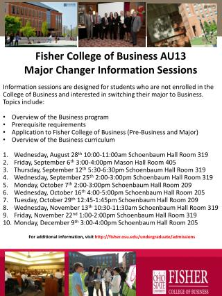 Fisher College of Business  AU13  Major Changer Information Sessions