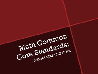 Math  Common Core Standards: