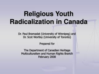 Religious Youth Radicalization in Canada