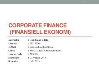 Corporate  Finance ( Finansiell ekonomi )