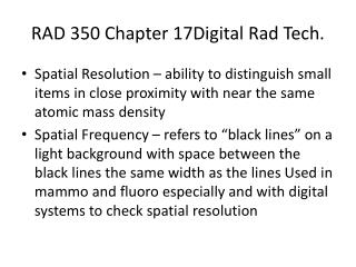 RAD 350 Chapter 17Digital  Rad  Tech.