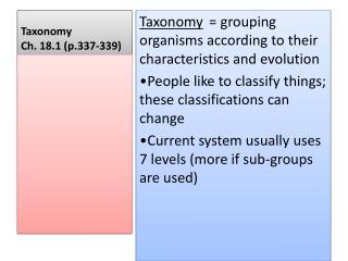 Taxonomy Ch.  18.1 (p.337-339)