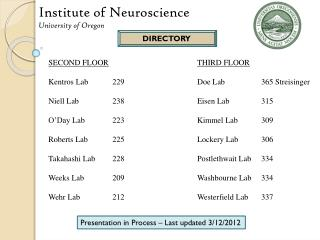 Institute of Neuroscience University of Oregon