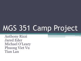 MGS 351 Camp Project