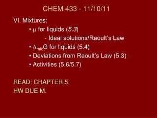 CHEM 433 - 11/10/11