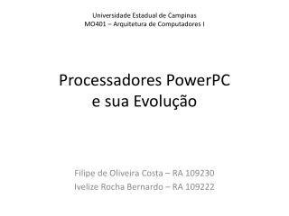 Processadores  PowerPC e  sua Evolução